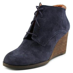 Lucky Brand Blue Suede Wedge Booties
